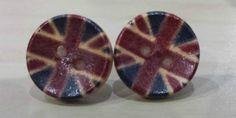 99p Button earrings Vintage look Union Jack earrings by KelwayCraftsYorkshir