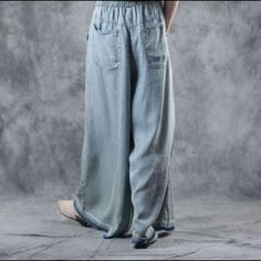 Buy Light Blue Plus Size Wide Leg Jeans Soft Cotton Maxi Frayed Jeans in Jeans online shop, Morimiss offers Jeans to make you feel comfortable Wide Leg Jeans, Denim Jeans, Urban Hippie, Flared Skirt, Hippy, Personal Style, Light Blue, Plus Size, Legs