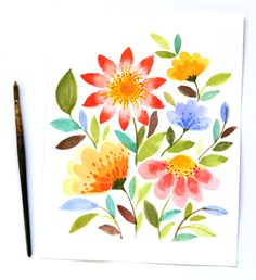 paint beautiful watercolor flowers in 15 minutes with a few simple steps! www.apieceofrainbow.com