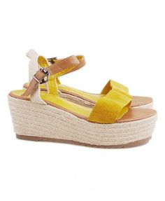 Yellow Suede Leather Flatform Sandals