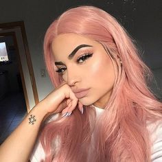 Buy Salmon Pink Hair Full Lace Wigs Natural Straight at WowEbony density, Chinese Virgin Hair, Our Human Hair Full Lace wigs are of super quality. Pastel Pink Hair, Hair Color Pink, Pink Blonde Hair, Dyed Hair Pink, Blonde Hair With Color, Pink Short Hair, Baby Pink Hair, Rose Pink Hair, Cute Hair Colors