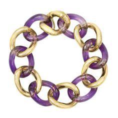 Betteridge Collection Carved Amethyst & 18k Gold Curb-Link Bracelet