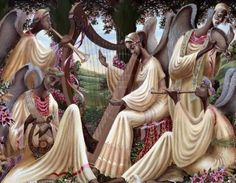 Symphony Of Angels by John Holyfield is a limited edition work of art illustrating five angels playing harps, a horn, a flute, and a tambourine beneath the cover of trees.