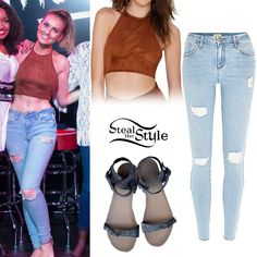 Perrie Edwards posed with her bandmates and fans at Mix 107.9 FM Studios in Utah wearing a Betina Halter Crop Top by Oh My Love ($58.00), River Island Light Wash Ripped Amelie Superskinny Jeans (Sold Out) and a pair of Free People Plough & the Stars Sandals (Sold Out).