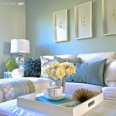 House of Turquoise: Wicks Nest: wall color: Restoration Hardware Glacier