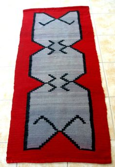 Greek Kilim Rugs look like Navajo Rugs!!! I heared that we have the same day light!!! Vintage Kilim Rug Runner Red Grey Black by VintageHomeStories, €140.00