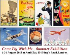 Our exhibition this August will showcase a variety of flight-related travel, advertising and propaganda posters from around the world. These original vintage posters truly capture the essence of travel in the earlier days of flying, many featuring airlines that no longer exist today. Step back in time and travel the world in style this summer through the stunning artwork that will be on display at our next exhibition. AntikBar.co.uk
