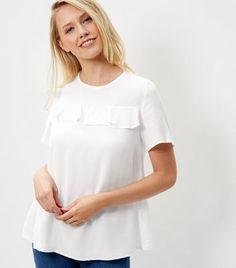 Cream Ruffle Trim T-Shirt
