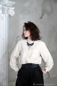 6387dc20d0f4f00 Рубашка женская классическая бежевая – купить в интернет-магазине на Ярмарке  Мастеров с доставкой