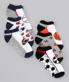 Decorated to suit a little sports fanatic, this set of six athletic-themed pairs adds spontaneity to the sock drawer. Toddler Boy Outfits, Toddler Boys, Socks World, Little Sport, Kids Socks, Sport Socks, Underwear, Sweatpants, Vitamins