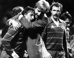 Aad de Mos celebrating goal with Johan Cruyff as Ajax score twice in the first leg of their European Cup clash with Celtic in the 1982/83 season