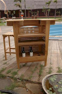 Outdoor Anderson Teak Altavista 5 Piece Bar Set   SET 20   Teak, Antiques  And Linens