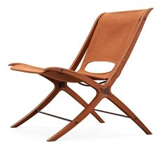 Peter Hvidt & Orla Mølgaard Nielsen, Teak, Beech and Canvas 'X-Chair' for Fritz Hansen, 1950s.