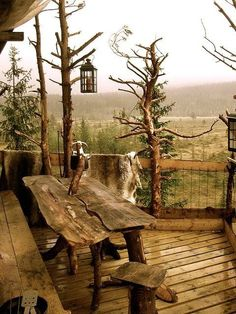 Colonial in the South or cabin in the woods. My dream home would incorporate elements from both worlds. Rustic Patio, Rustic Decor, Rustic Outdoor, Rustic Table, Wood Table, Rustic Wood, Timber Table, Raw Wood, Rustic Charm