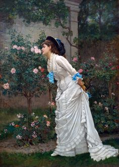 Auguste Toulmouche In the garden a girl and roses