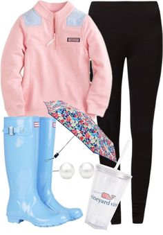 """southernbombshell23: """" Untitled 6 by preppyclothes featuring tiffany & co. ❤ liked on Polyvore Even odd legging, $24 / Hunter wellington boots, $130 / Tiffany & Co. / Vera Bradley  umbrella / vineyard..."""