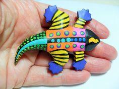 Hand painted alligator brooch wooden by GingersLittleGems on Etsy