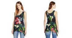 #Desigual Shirt - Modell Black, Muster: floral, exotisch, schwarz. Asymmetrischer Bund.