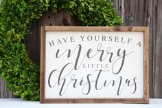 Have Yourself a Merry Little Christmas sign, Christmas wood sign, Painted wood sign, Holiday sign, F