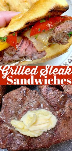 Boursin cheese on toasted Brioche buns for these scrumptious Grilled Steak Sandwiches. #ad #ohiobeef #steakrecipes #steaksandwichrecipes Healthy Summer Dinner Recipes, Beef Recipes For Dinner, Grilling Recipes, Healthy Recipes, Best Beef Recipes, Best Lunch Recipes, Ground Beef Recipes, Grilled Peppers And Onions, Vegan Dishes