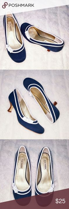 Size 8.5M Steve Madden Heels Vintage Inspired Pumps. These shoes are just darling...the heel is 2 inches, the sole and White trim is leather, the fabric is a deep teal almost mallard blue color. Steve Madden Shoes Heels