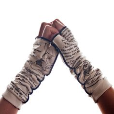 Love these. They would be perfect if it covered the fingers just a little bit more. <3 http://storiarts.com/collections/gloves/products/alice-in-wonderland-writing-gloves