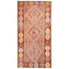 1stdibs Wool Vintage Geometric Pink Kilim Turkish Turkish Rug