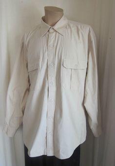 ORVIS Men's Beige Safari Hiking Camping Long Sleeve Shirt XXL 2XLarge #Orvis #ButtonFront
