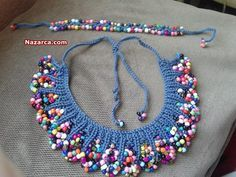 Turkish video for Knitting Beaded Necklace with Knitting .You can make Knitting Bead Necklace Designs for Knitting Beaded Necklace with Turkish Knitting NecklCrochet necklace and braceletThis Pin was discovered by Bin Crochet Beaded Necklace, Knitted Necklace, Bead Crochet, Bead Jewellery, Beaded Jewelry, Handmade Jewelry, Japanese Sewing Patterns, Mode Crochet, Beaded Collar
