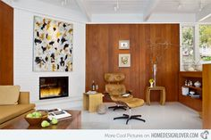Carmel 1 - Warm Autumn home design interior decorating before and after room design house design Mid Century Modern Living Room, Mid Century House, Living Room Modern, Living Room Designs, Living Rooms, Salon Mid-century, Painted Brick Fireplaces, Corner Fireplaces, Home Decor