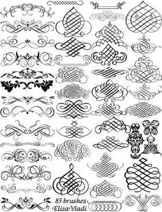 Brushes: Free brushes (ABR): Calligraphy master by ~ElizaVladi Calligraphy Letters, Caligraphy, Caligrafia Copperplate, Zentangle, Penmanship, Photoshop Brushes, Arabesque, Design Elements, Stencils