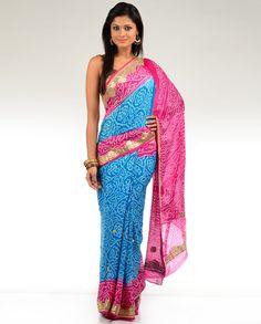 Cyan and Fuchsia Pink Bandhani Print Sari