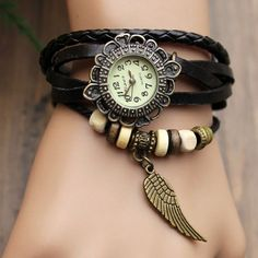 2014 Susenstore New Quartz Fashion Weave Wrap Around Leather Bracelet Wrist Watch for Women