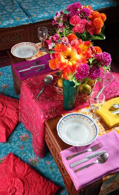 Bright Indian table setting for the perfect Hundred-Foot Journey Movie Party – In Theaters This Friday!