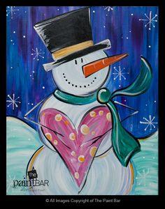 Snowman Love Painting - Jackie Schon, The Paint Bar