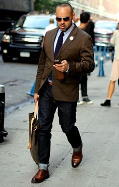 Brown jacket, jeans and brown shoes. Find more masculine mature men on www.datedick.com
