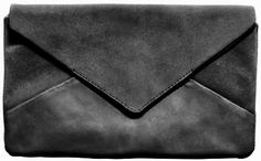 Black leather envelope purse