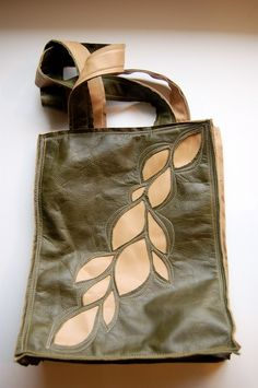 this tote was handcrafted using scrap upholstery leather. simple open  design 49e204494a19c