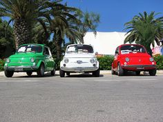 3 Fiat 500, 3 colours, so stylish, so italian! explore by NICK1828, via Flickr