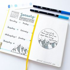 Plan With Me: My January 2019 Bullet Journal Setup Bullet Journal Yearly, Creating A Bullet Journal, December Bullet Journal, Bullet Journal Cover Page, Bullet Journal Tracker, Bullet Journal How To Start A, Bullet Journal Themes, Bullet Journal Spread, Bullet Journal Layout