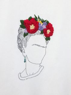 Frida Kahlo embroidery on T-shirt, handmade by - belt models Frida Kahlo Tattoos, Frida Kahlo Portraits, Frida Tattoo, Frida Kahlo T Shirt, Diy Embroidery, Embroidery Patterns, Fridah Kahlo, T-shirt Broderie, Kahlo Paintings