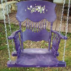 Old straight back chair turned porch swing. Color is terrible but the idea is good. Purple Outdoor Furniture, Metal Outdoor Chairs, Outdoor Rocking Chairs, Plastic Adirondack Chairs, Outdoor Dining Chair Cushions, Metal Chairs, Outdoor Seating, Outdoor Rooms, Outdoor Decor