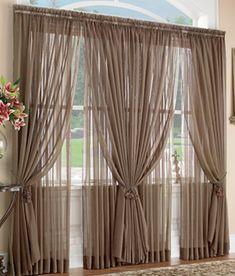 Layered Sheer Curtain, Window Treatment Ideas Drapery, Sheer Curtains  Bedroom, White Sheer Curtains
