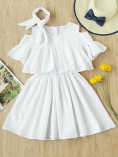 Open Shoulder Frill Trim Layered Dress With Ribbons Open Shoulder – multi-layer dress with ruffled trim and ribbons – I fell in love when I saw it and had to buy it. Cute Casual Outfits, Girly Outfits, Pretty Outfits, Stylish Outfits, Casual Clothes, Dress Outfits, Stylish Dresses, Simple Dresses, Elegant Dresses