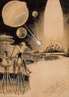 "Frank R. Paul (1884–1963)  ""The Planet Juggler,"" story illustration"