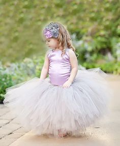 Flower Girl Tutu Dress & Headband Set Long Princess Tutu Sewn Tutu Couture Tutu