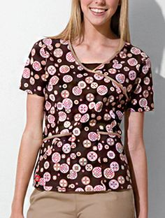 Three Pocket Mock Wrap Print Top  #Three #Pocket #Mock #Wrap #Print #Top Womens Scrubs, Floral Tops, Unisex, Blouse, Pocket, Fashion, Moda, Top Flowers, Fashion Styles
