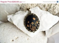 SALE Black gold necklace Black Pendant Necklace by LandOfJewellery