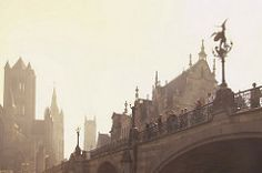 The same early morning in Gent (marielledevalk) Tags: bridge gent europe morning mist traveling church