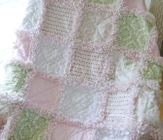 Baby Girl Rag quilt Shabby roses pink and by skyvalleyquiltco